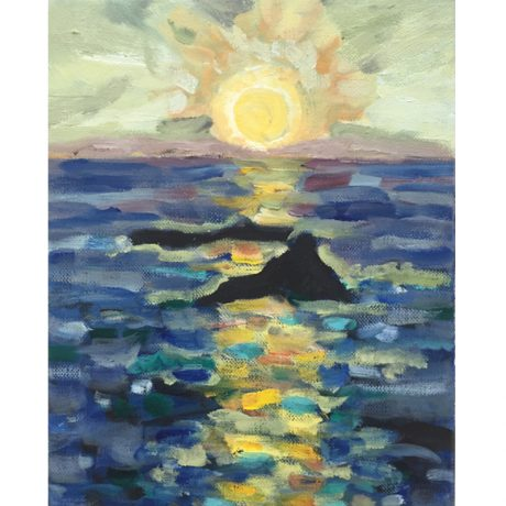 Marie-Van-Elder-Sunset-With-Rocks-10x8